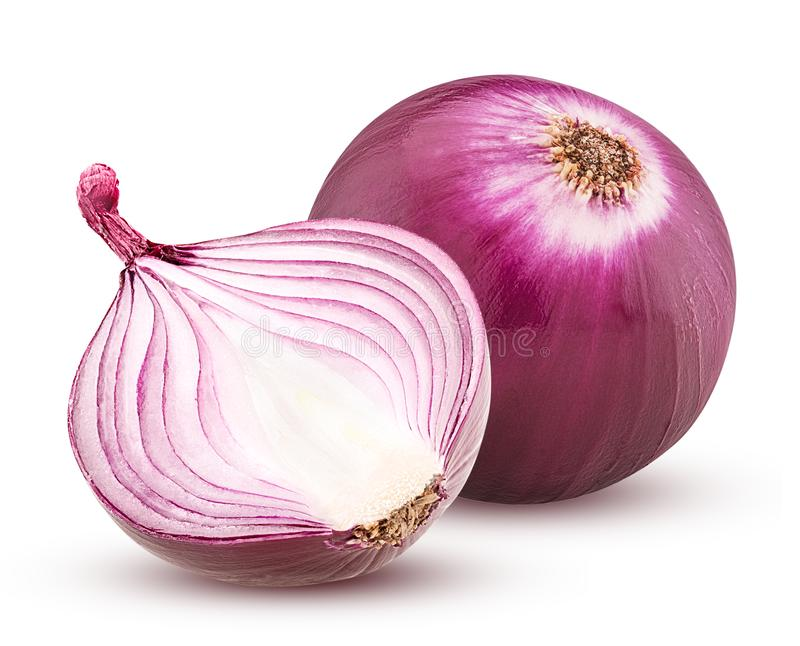 Red onion with cut in half isolated on white background. royalty free stock photo
