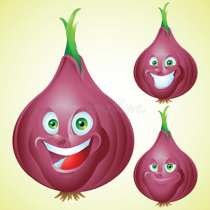 Red Onion face expression cartoon character set vector illustration