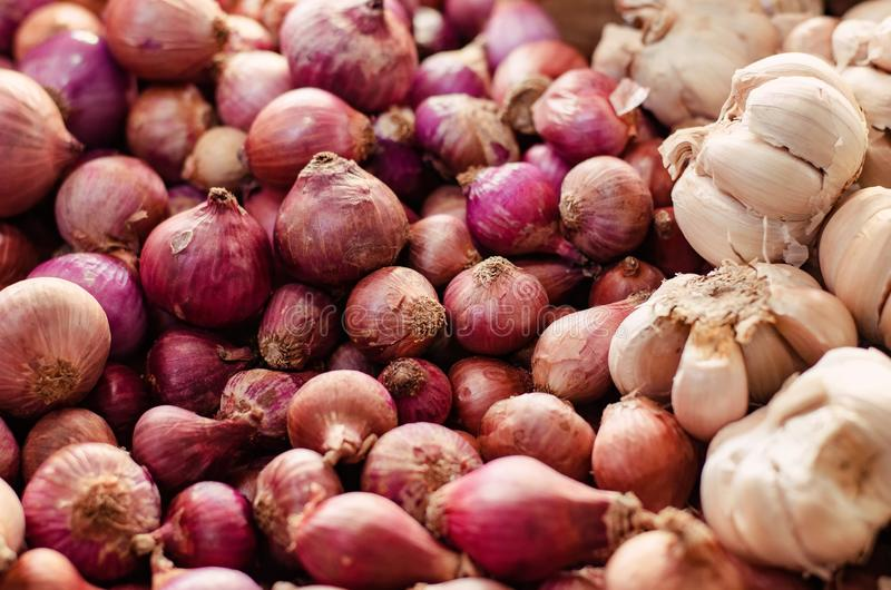Red onion and garlic display on fresh market table stock image
