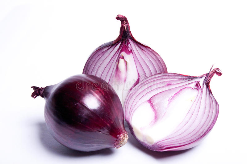 Red onion, isolated against white background stock photography