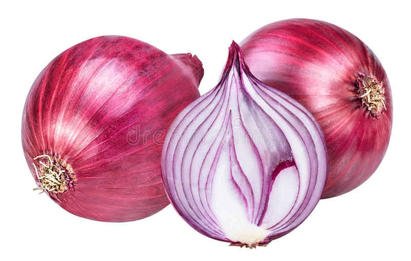 Red onion isolated on white royalty free stock images