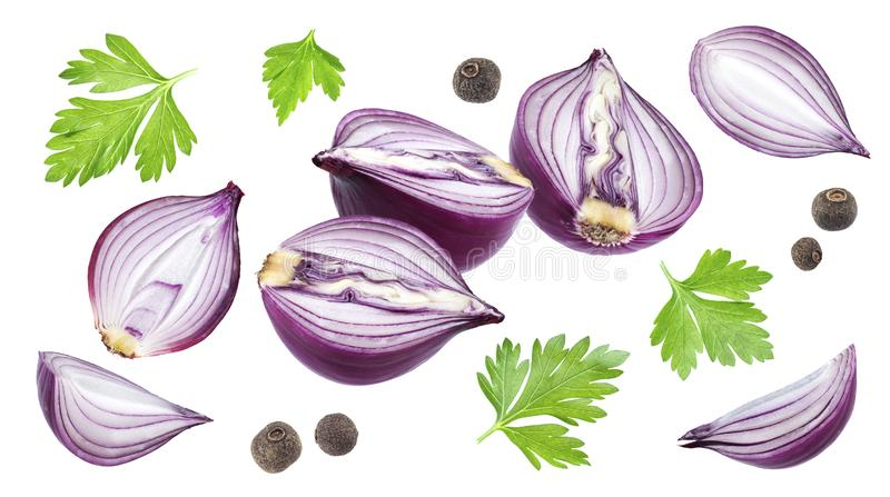 Red onion slices, parsley and black pepper isolated on white background royalty free stock images