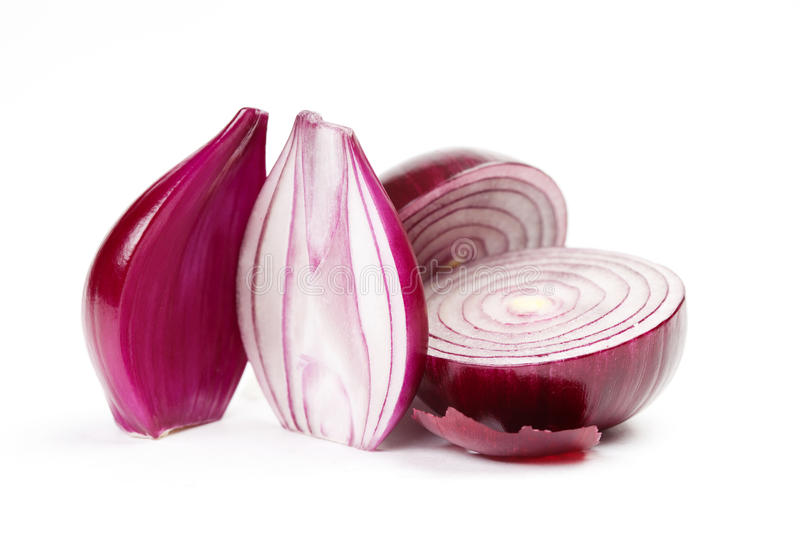 Red onion slices on a white background. macro view royalty free stock image