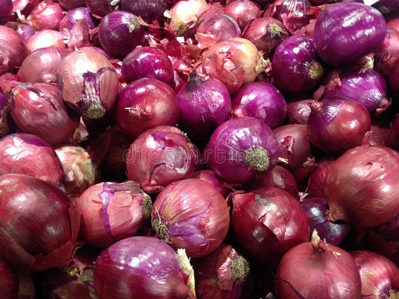 Red Onions for Sale. Red Onions for Sale in Whole Foods Store in Manhattan, New York, NY royalty free stock photos