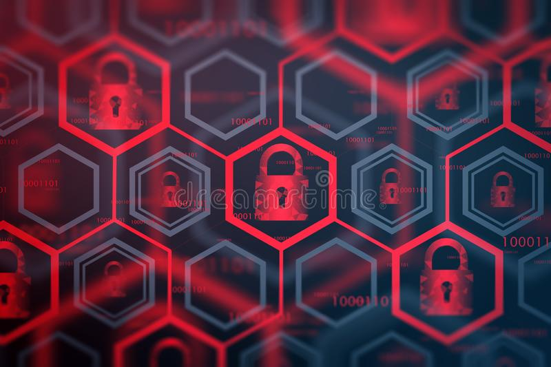 Red online security interface background. Glowing red online security interface background. Cyber security and identification concept. Data protection. 3d royalty free illustration