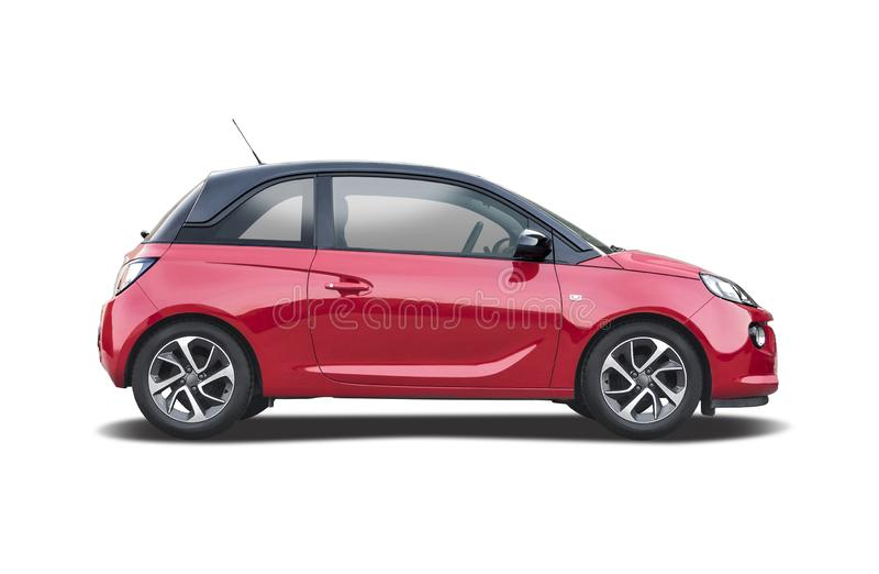Red Opel Adam isolerad på vitt arkivbild