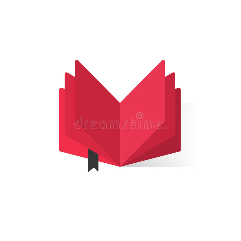 Red open book with abstract pages and bookmark vector logo stock illustration