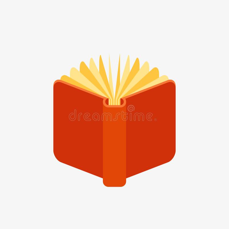 Red open book icon vector illustration
