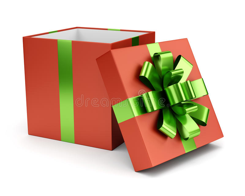 Red open gift box isolated on white royalty free illustration
