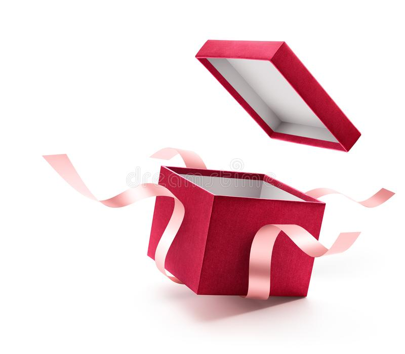 Red open gift box with ribbon stock image