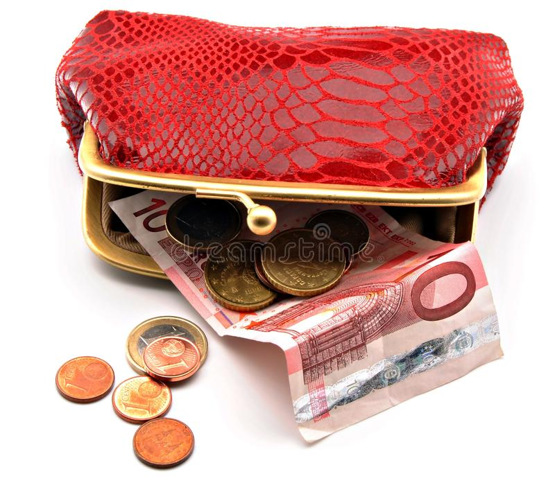 Red open purse stock photography