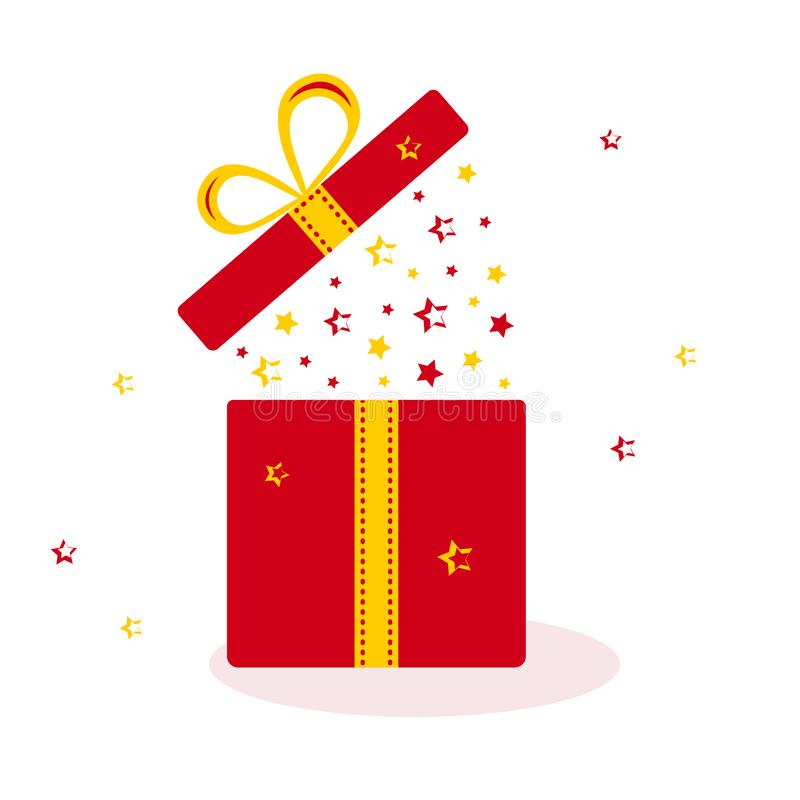 Red opened gift box with yellow and red stars. Vector. Illustration stock illustration