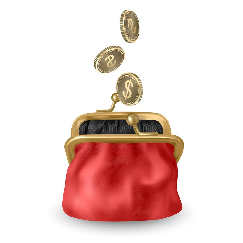 The Red, opened purse. Gold coins raining to open wallet. Golden coins money, dollars dropping or falling in open purse. Vector stock illustration