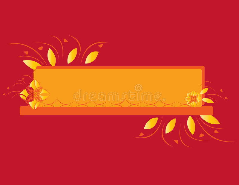 Red orange abstract flower banner royalty free illustration