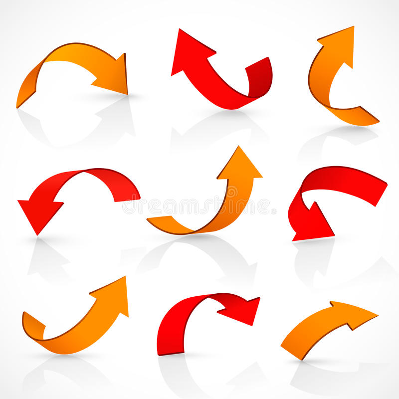 Red and orange arrows royalty free illustration