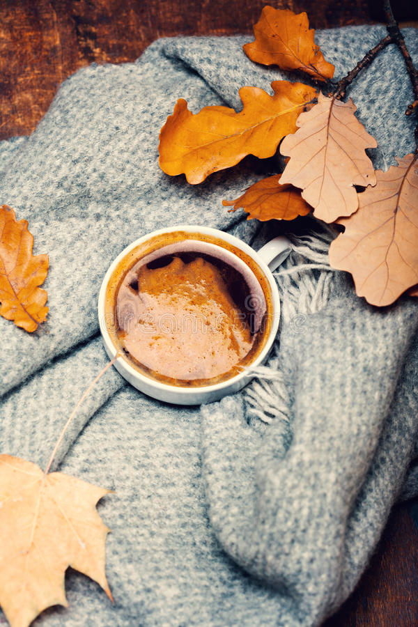 Red and Orange Autumn Leaves Background with coffee cup. Yell. Ow Fallen autumn leaves on vintage wooden old backdrop royalty free stock photography