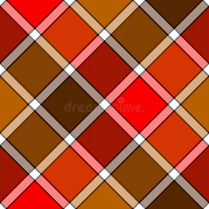 Red orange color diagonal check plaid seamless pattern stock illustration