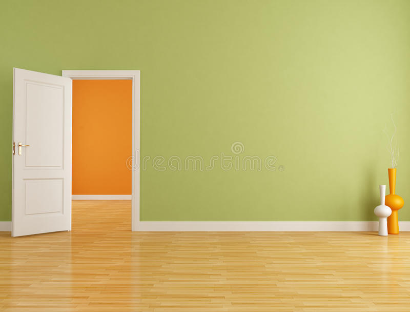 Red and orange empty interior royalty free stock images