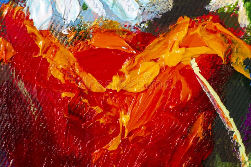 Hand drawn oil painting. Abstract art background. Oil painting on canvas. Color texture. Fragment of artwork. Spots of paint. Red orange Hand drawn oil painting royalty free stock image