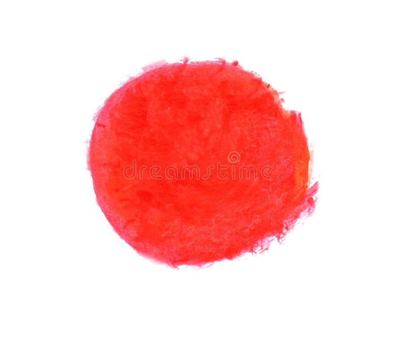 Red and orange hand drawn watercolor circle as background royalty free stock photography