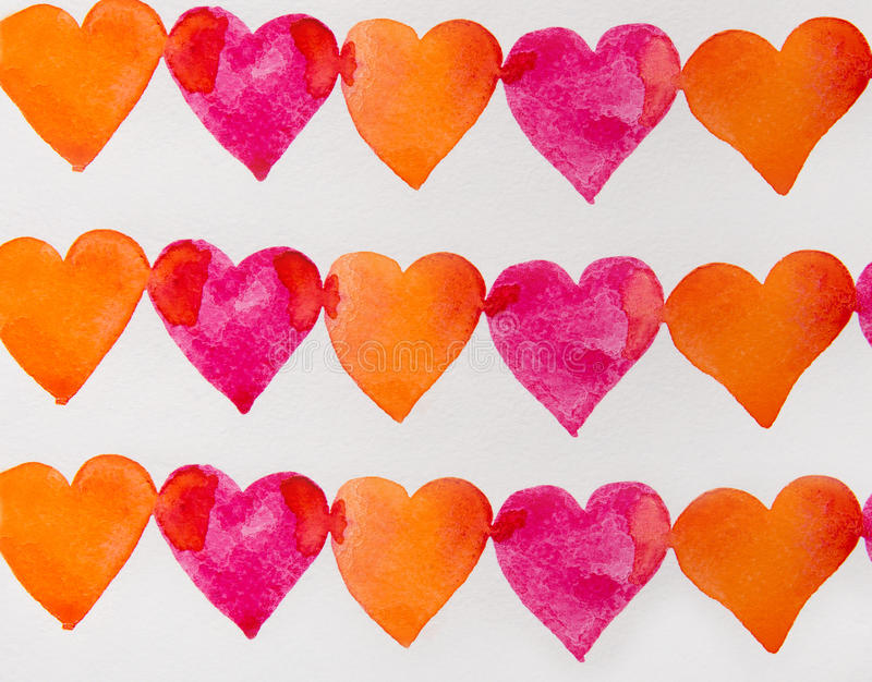 Red and orange hearts watercolor royalty free illustration