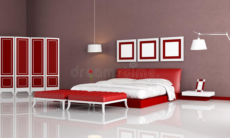 Red and orange living room stock illustration