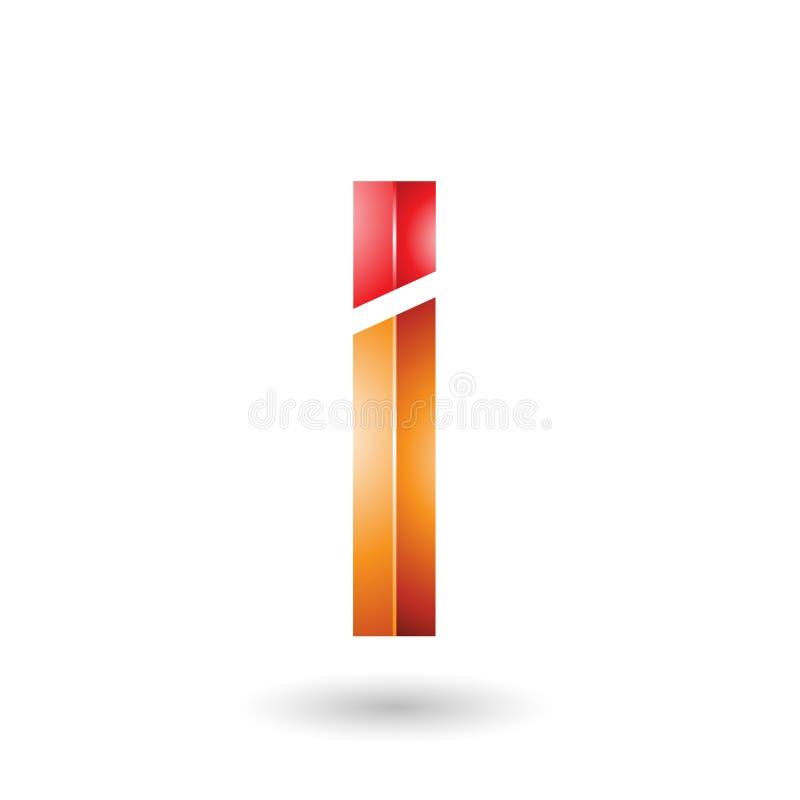 Red and Orange Rectangular Glossy Letter I stock illustration