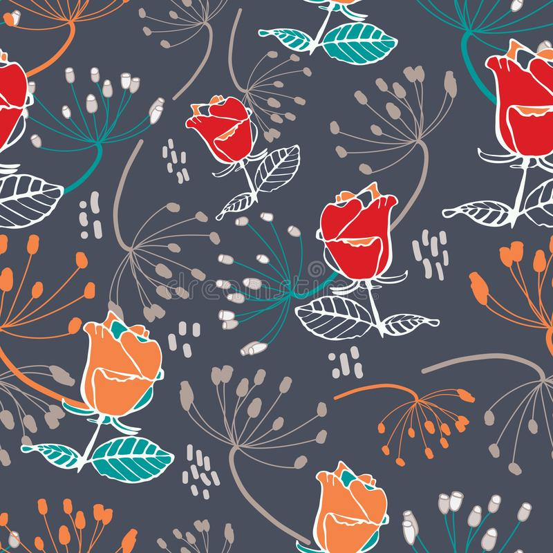 Red and orange roses with beige and orange seeds on grey background seamless pattern. royalty free illustration