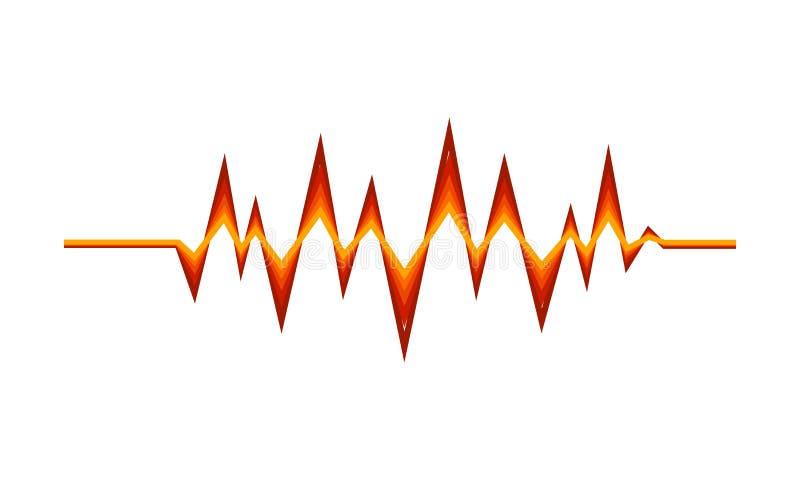 Red-orange sound pulse. Digital music wave. Audio equalizer. Technology theme. Vector design stock illustration