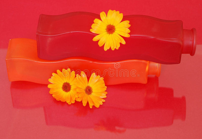 Red and orange vases royalty free stock images