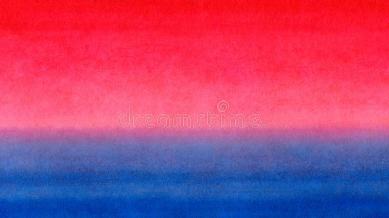 Red orange yellow blue bright gradient colorful horizontal banner watercolor texture background. Sunrise or sea sunset blurred ba stock illustration