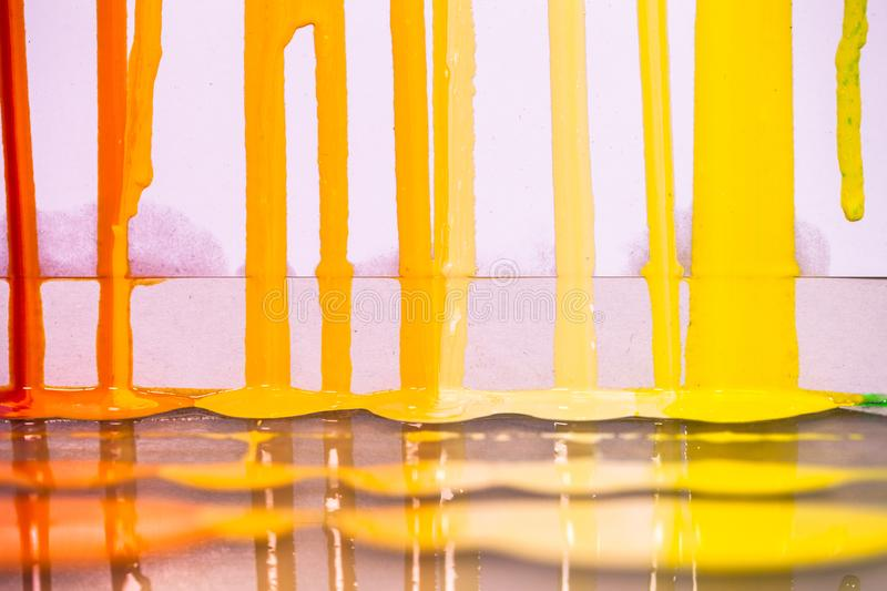 Red orange and yellow colors of screen print colors are dripping. In white background stock image