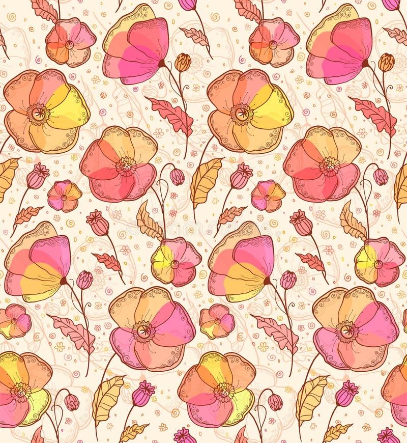 Download Red, Orange And Yellow Flowers  Pattern Stock Illustration - Illustration of pattern, horizontal: 27470079