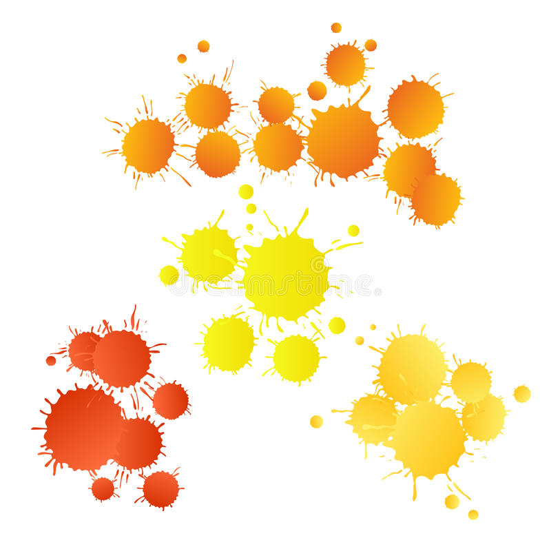 Red orange yellow watercolor paint drops royalty free stock image