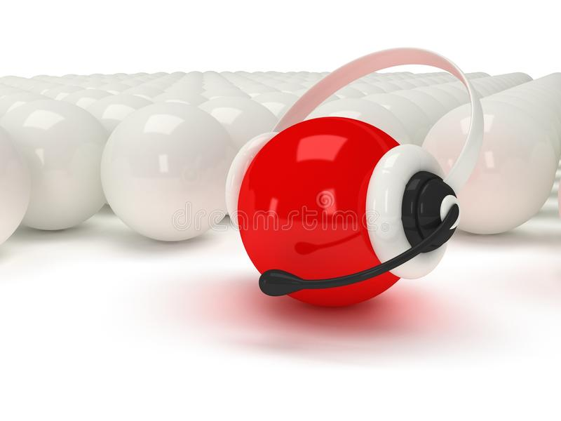 Red orb with headset and white balls vector illustration