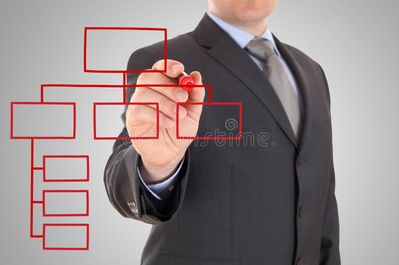 Red organization chart on a white board. Businessman and red organization chart on a white board royalty free stock images
