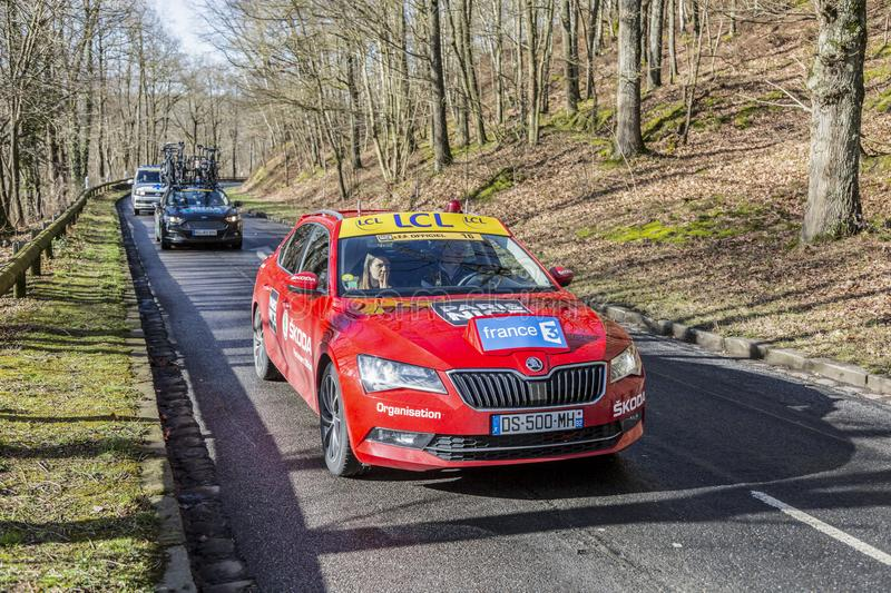 The Red of the Organizers - Paris-Nice 2017 royalty free stock photo