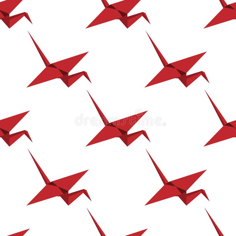 Red origami crane seamless pattern. A single object pattern. Crane in isometry. Suitable for paper, fabric, children or. Oriental motifs. White background vector illustration