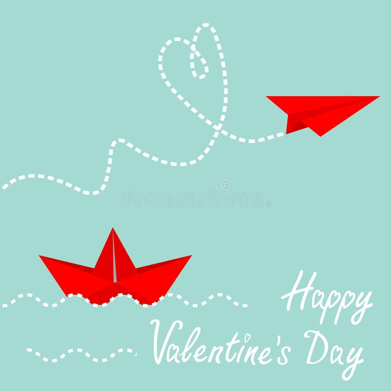 Red origami paper boat and paper plane. Dash heart in the sky. Wave line. Happy Valentines Day. Love card. Blue background. Isolated. Vector illustration royalty free illustration