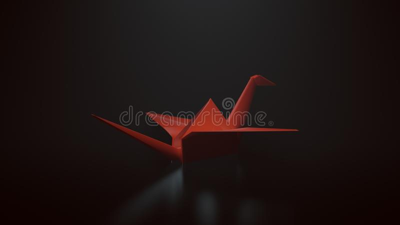 Red Origami Paper Crane on a Black Background with top down Lighting stock photography