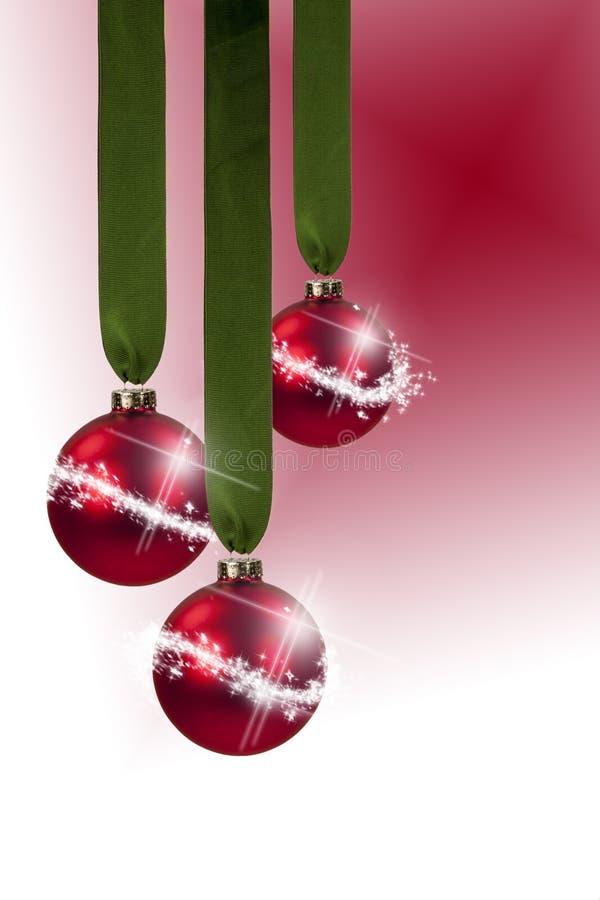 Red Ornament Green Ribbon stock photo