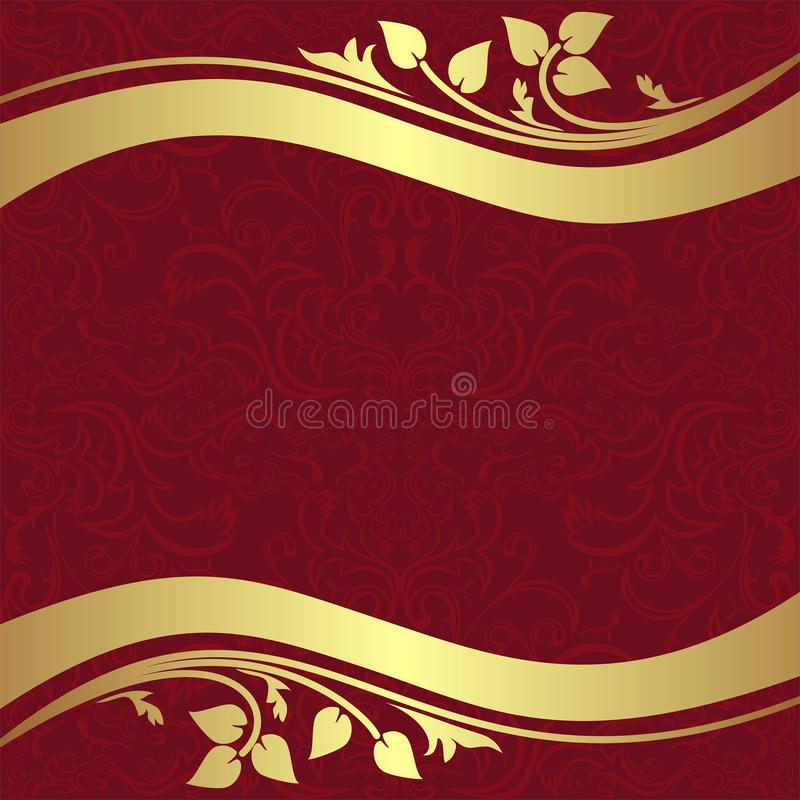 Red ornamental Background with golden floral Borders. vector illustration