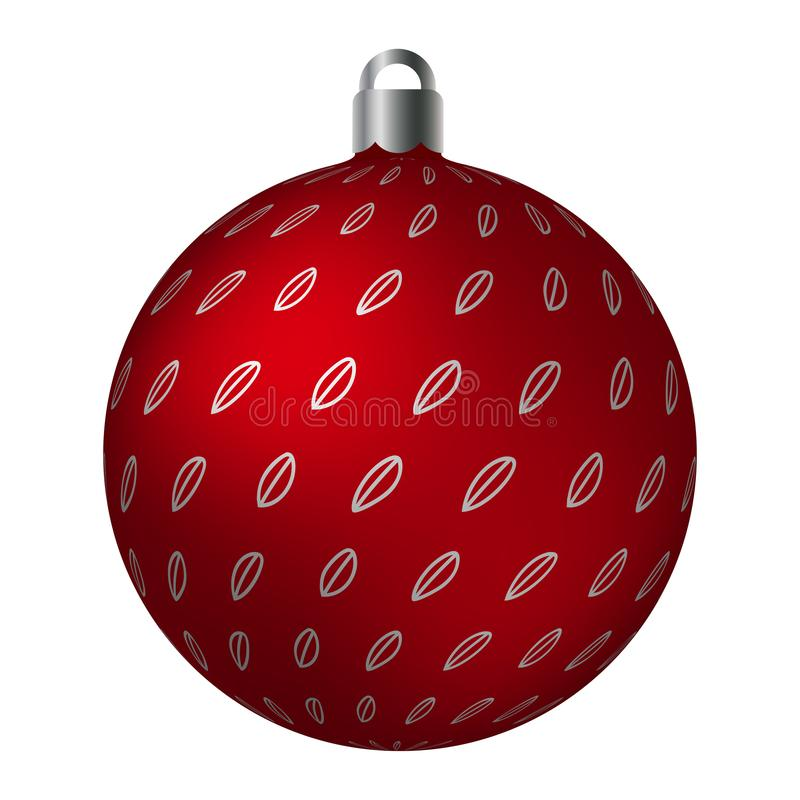 Red ornated Christmas ball with silver metallic bean patterns isolated on white background. Simple abstract ornaments vector illustration