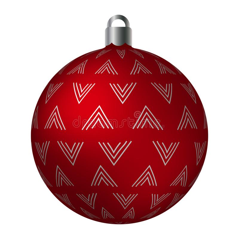 Red ornated Christmas ball with silver metallic bend loose patterns isolated on white background. Simple abstract ornaments royalty free illustration