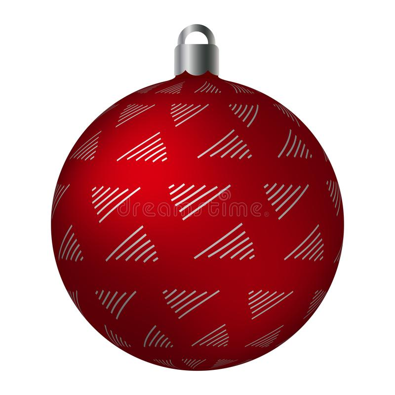 Red ornated Christmas ball with silver metallic doodle patterns isolated on white background. Simple abstract ornaments stock illustration