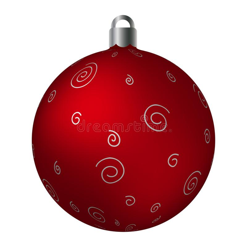 Red ornated Christmas ball with silver metallic scribble patterns isolated on white background. Simple abstract ornaments royalty free illustration