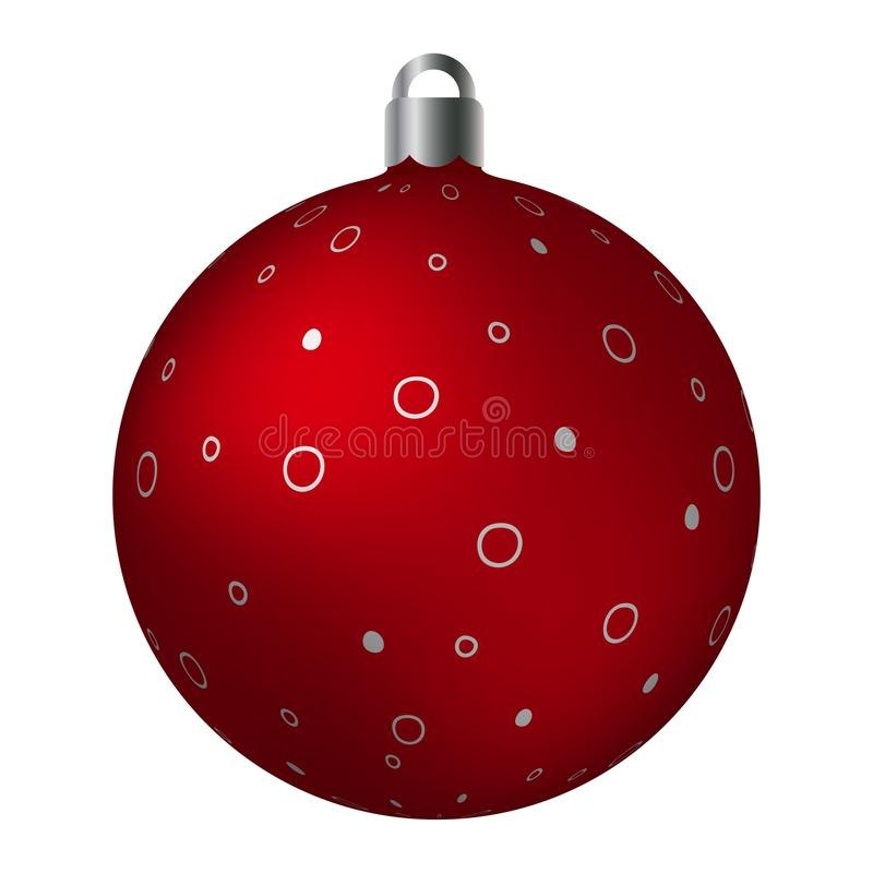 Red ornated Christmas ball with silver metallic spotted patterns isolated on white background. Simple abstract ornaments vector illustration