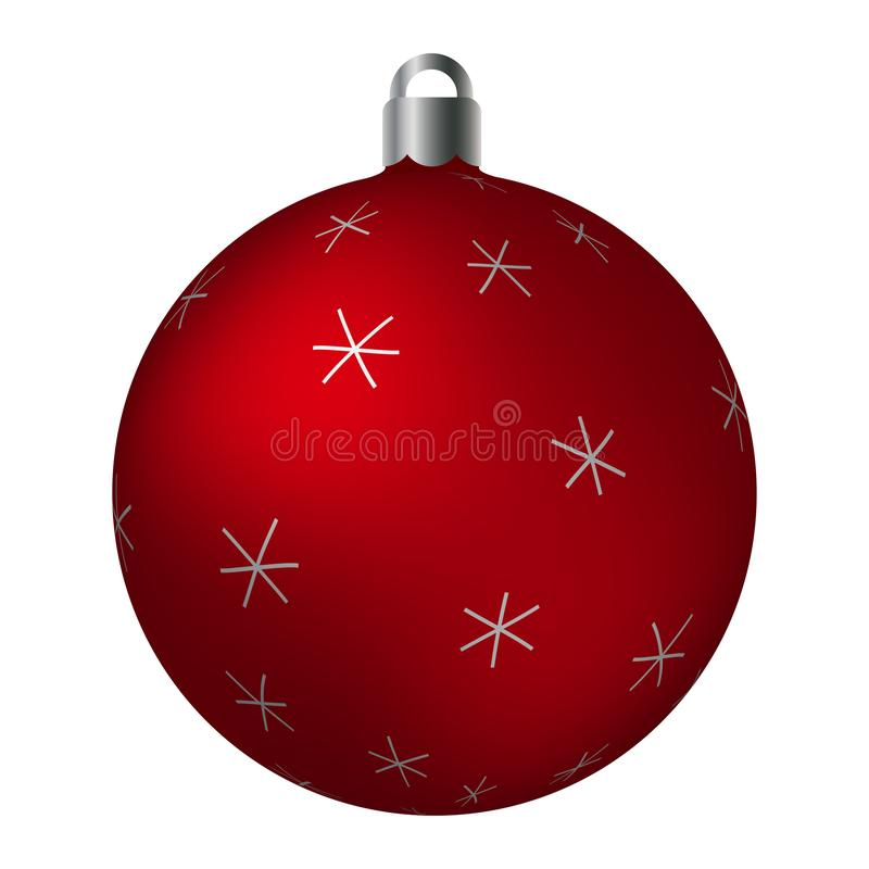 Red ornated Christmas ball with silver metallic star patterns isolated on white background. Simple abstract ornaments royalty free illustration