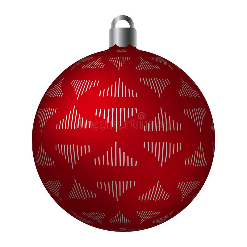 Red ornated Christmas ball with silver metallic triangle patterns isolated on white background. Simple abstract ornaments stock illustration