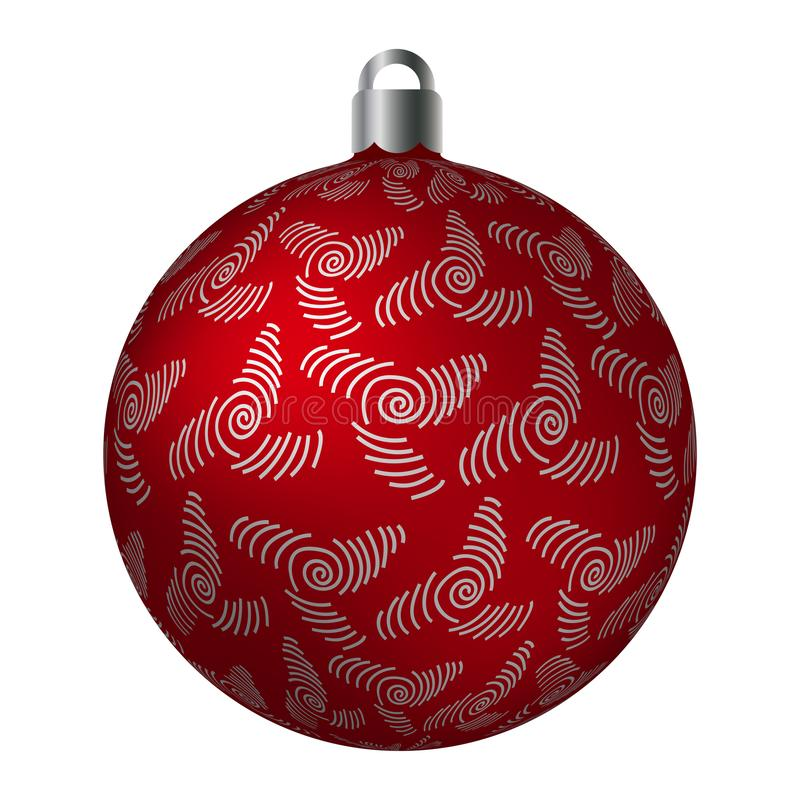 Red ornated Christmas ball with silver metallic whirls patterns isolated on white background. Simple abstract ornaments royalty free illustration